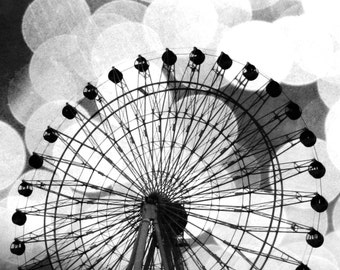 Ferris Wheel Photo - Square Photo - Wall Print - Black and White - Carnival Photography - Geometric Photograph - Photography - Silhouette