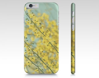 Yellow Blue Phone Case - iPhone 5 5S 6 6S - Flower Phone Cover - iPad Mini - Samsung Galaxy S4 S5 - Pastel Blue Sky - Bright Yellow Flowers