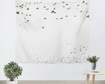 Black and White Tapestry - Minimalist Wall Hanging - bird silhouette  - black and white home decor - birds photograph - Minimalist photo