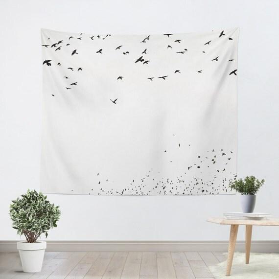 tapisserie noir et blanc minimaliste tenture silhouette. Black Bedroom Furniture Sets. Home Design Ideas