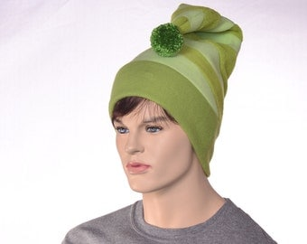 Striped Tail Hat in Three Green Stripes Patchwork Stocking Cap Fleece Pompom Hat Adult Men Womens