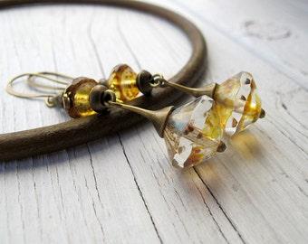 Long Drop Earrings, Bohemian Earrings, Vintage Vibe Jewelry, Chic Boho,  Dangly Earrings, Neutral Color, Sparkly Glass Beads, Wear Everyday