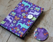Small notebook & mirror set covered in purple cat print fabric - removable notebook cover