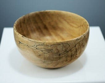 Wooden Salad Bowl Personal Sized, Spalted Maple Wood Serving Bowl, B2693