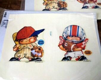 Vintage Sheet of Baseball/ Football Decal for Kids/ set of 2 Sheets