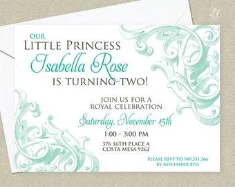 Girls Turquoise Antique Invitation - Engraved Princess Invitation - Little Girls Formal Princess Invitation