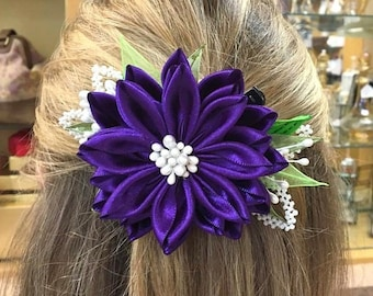 Hair Fascinator Kanzashi Flower Royal Purple Wedding Hair Accessories