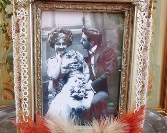 Altered Art Photo Frame Art Deco Feathers Cameo Lace Gold Bronze