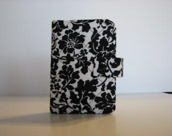 Jewelry Organizer Black White Leafy Floral