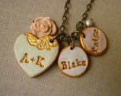 Heart Couple Necklace with Kid's names, Personalized mom jewelry