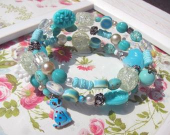 Aqua Blue Boho Mixed Bead Wrap Bracelet