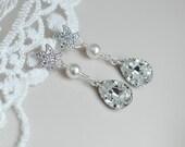 Starfish Earrings,Cubic Zirconia Starfish, Pearls and Large Crystal Clear Swarovski Teardrop Earrings,Beach Wedding,Nautical Wedding Jewelry