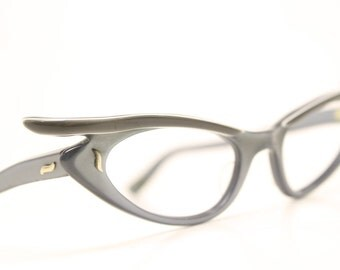 Unique gray winged cat eye glasses vintage cateye frames