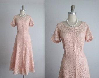 STOREWIDE SALE 50's Lace Dress // Vintage 1950's Feminine Pink Lace Garden Party Tea Dress L