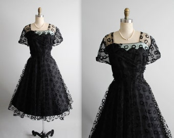 50's Cocktail Dress // Vintage 1950's Embroidered Black Tulle  Illusion Full Cocktail Party Dress XL