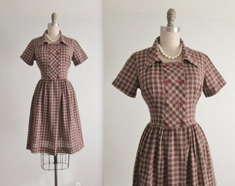 STOREWIDE SALE 50's Day Dress // Vintage 1950's Brown Plaid Full Casual Shirtwaist Dress M