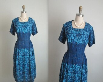 STOREWIDE SALE 40's Floral Dress // Vintage 1940's Unworn Floral Print Cocktail Party Dress NOS Unworn L