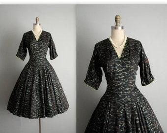 STOREWIDE SALE 50's Cocktail Dress // Vintage 1950's Classic Black Full Cocktail Party Evening Dress S