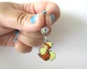 Pokémon  Bellybutton Piercing  - GROWLITHE - Belly iridescent botton jewelry