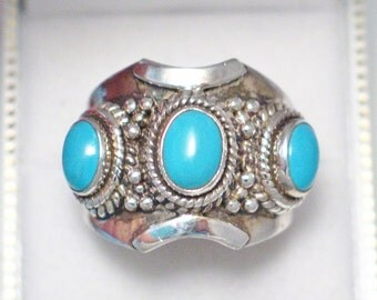 WoW huge size 14.25 handsome mens sterling silver baby blue truquoise triple gemstone ring band rope bead accent design knuckle to knuckle