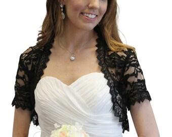 Bridal shrug, Black Lace Jacket, wedding lace jacket  720SLJ-BLK