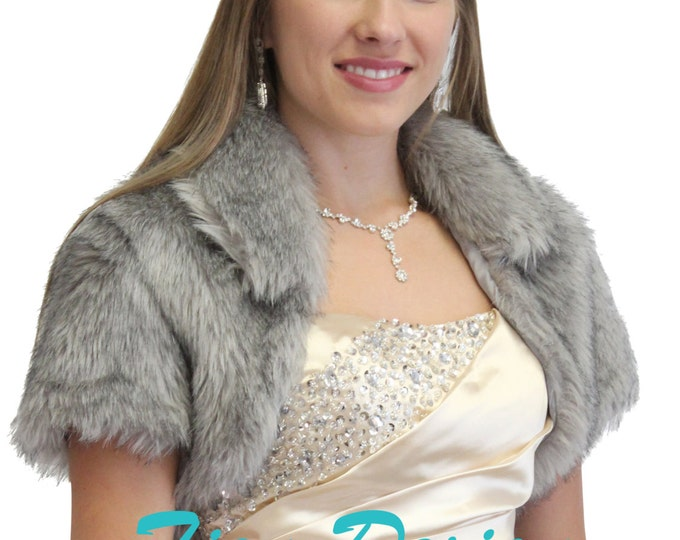Spring Sale Bridal bolero, Silver Faux Fur Bolero Crop Jacket For women 680NF-silver, Faux fur shrug, Faux fur cape