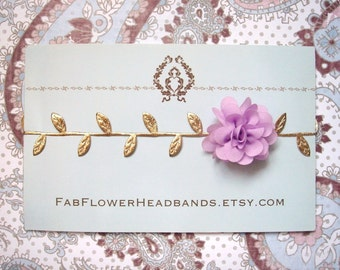 Newborn Lavender Flower with Gold Leaves Headband - Grecian Headband - Baby Gold Leaf - Golden Leaves Headband - Newborn Gold Leaves Halo