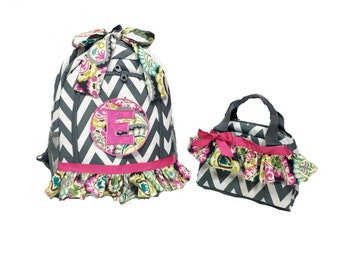 Backpack and Matching Lunch Bag; Grey Chevron Backpack, Lunch Bag
