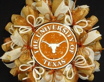 ON SALE College Teams, Texas Longhorns, Poly Mesh Wreath, College Football, Mesh Supplies
