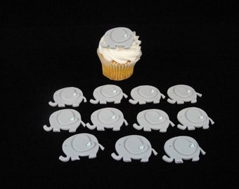 Elephant Fondant Cupcake Toppers, Baby Showers, Kids Parties, Edible Cupcake Topper, Cupcake Toppers, Fondant Cupcake Toppers - QTY 12