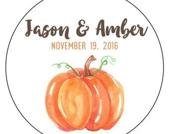 pumpkin wedding stickers, custom fall wedding stickers, watercolor pumpkin wedding stickers, watercolor wedding stickers, 3 sizes available