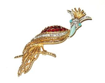 Vintage Signed Florenza Bird of Paradise Brooch