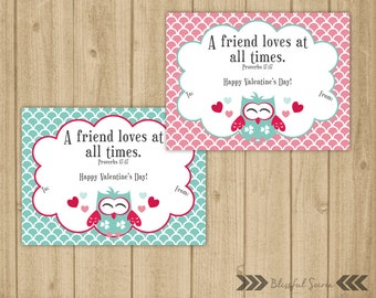 Kids Valentine Cards /  Owl Valentine / DIY PRINTABLE / Christian Scripture Bible Verse / Valentine for Girls / Instant Download
