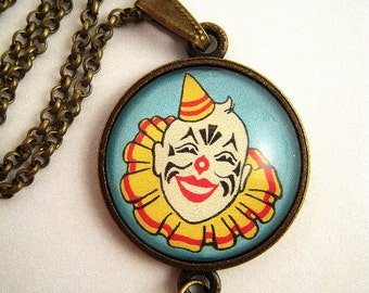Vintage Clown Pendant Necklace Glass Beads Tassel Upcycle Repurpose Circus Found Art Jewelry