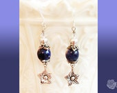 Hook Earrings Sodalite Rounds Silver Rounds Clear Swarovski Crystals TierraCast Pewter Bead Caps Earrings Pewter Star Flower Dangles Silver