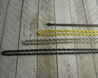 "Add a purse chain, shoulder strap, gold, silver, gunmetal, antique bronze, custom length, 24"", 36"", 48"""