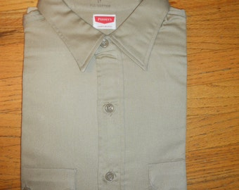 Vintage 1950s 50s Deadstock NOS Pennys Sanforized twill workshirt USA size 17 (large) workwear