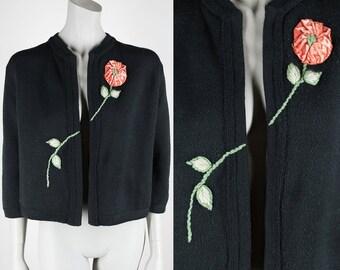 Vintage 60s Sweater / 1960s Black Cardigan with Asymmetrical Floral Applique S M L