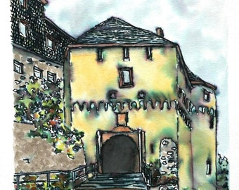 "Germany Castle Entry Architectural Art  Speedball Pen and Ink  Wall Decor 7.5"" x8"" brown yellow green"