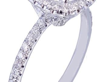 18K White Gold Round Cut Diamond Engagement Ring Halo Prong 2.15ctw G-SI1 EGL US