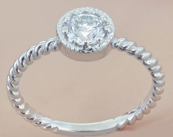 14K White Gold Round Cut Diamond Engagement Ring Braided Prong Set Deco 0.55ctw