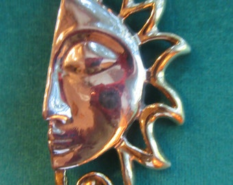 "Large Sun Brooch 925 - tested as silver - Half of Sun with face Brooch - 3 1/4"" high - Hollow silver Sun with golden rays"