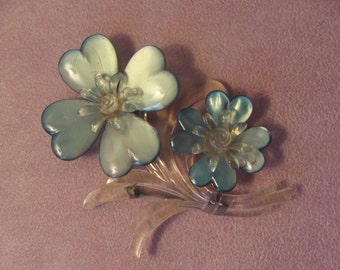 "Vintage Lucite Blue Flowers Brooch 4"" high  - Runway - Couture - Statement Piece  REDUCED"