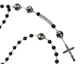 First Communion Soccer Pearl Rosary, Black or choose colors/Name Prayer Beads, Personalized, Catholic Baptism christenings, godparent gift
