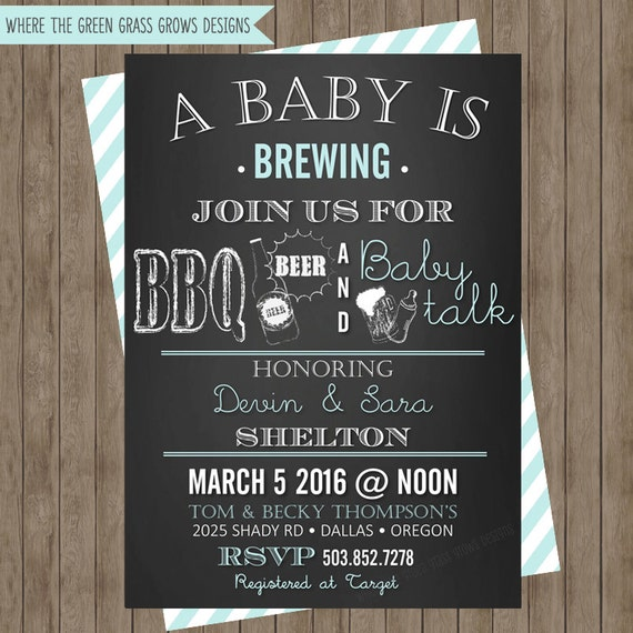 BBQ Beer and Baby Talk Baby Shower Invitation Printable