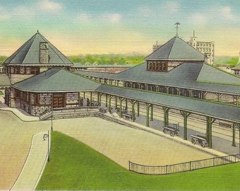 BROCKTON Mass New York New Haven and Hartford Railroad Station Unused Vintage Linen Postcard Great Train Railway Collectible Card