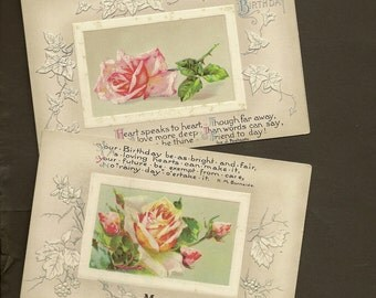 Pair of Embossed John Winsch Floral Birthday Postcard Pink Roses Silver Accents and Charming Verses 1910