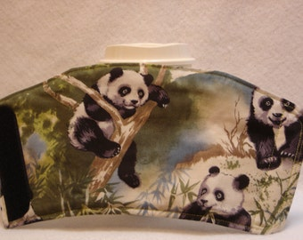 Arti REVERSIBLE Coffee Cup Sleeve for STARBUCKS 16oz  PANDA in Tree,  with Pocket