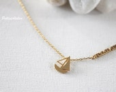 Yacht Necklace in Silver/ Gold. Boat Charm Necklace. Nautical Necklace. Ship Jewelry. Sailor Necklace. Good Luck Jewelry (PNL-178)