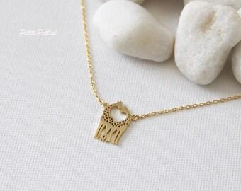 Giraffe Necklace in Matte Silver/ Gold. Love Giraffe Necklace. Safari. Animal. Valentine Gift. Gift For Her (PNL-101)
